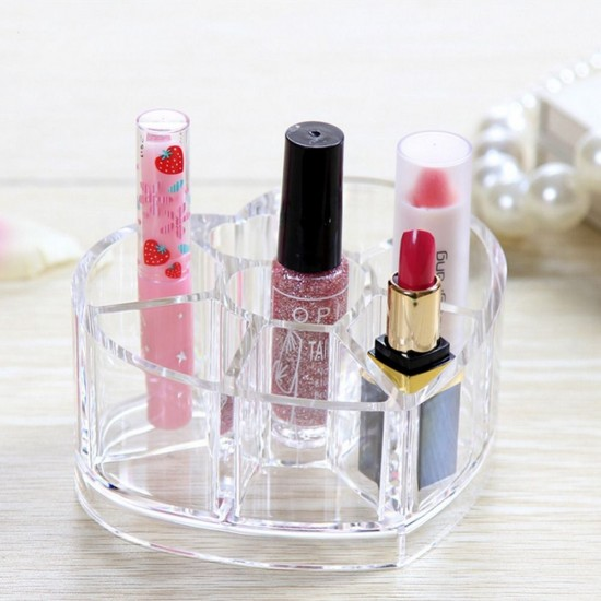 Acrylic Heart Shaped Cosmetic Organizer with 8 Grids Store