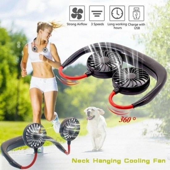 Lazy Neck Dual Mini Rechargeable Cooling Fan
