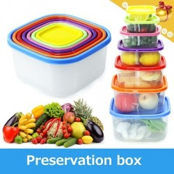 Transparent Refrigerator Food Storage Container Rainbow Colored 7pcs Set