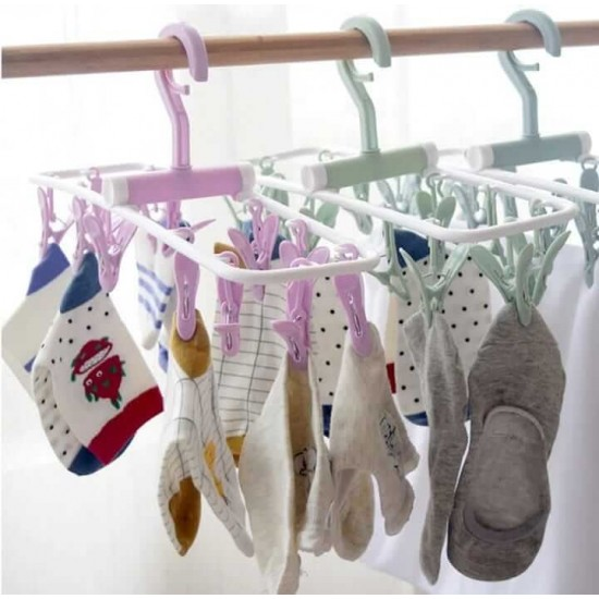 12 Clip Folding Drying Rack Underwear Socks Clip