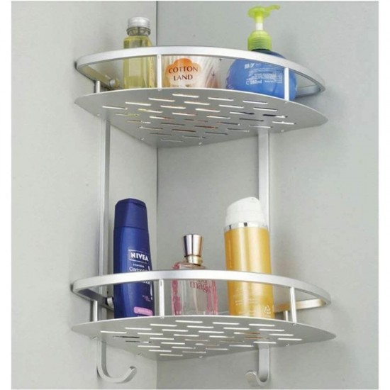 2 Layer Aluminum Steel Bathroom Shelf