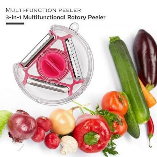 3 in1 Multifunctional 360 Degree Rotary 3 Blades Vegetable Fruit Peeler
