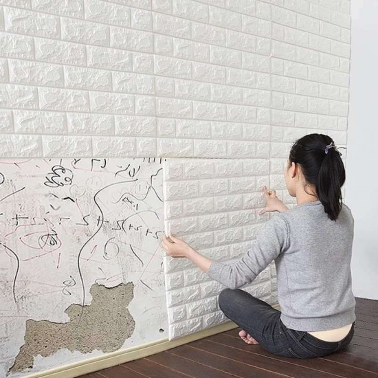 3D Foam Brick Wallpaper Stickers Pack of 4