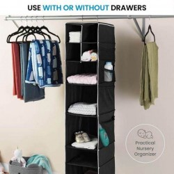 5 Layers Black Foldable Hanging Shelf Closet Organizer