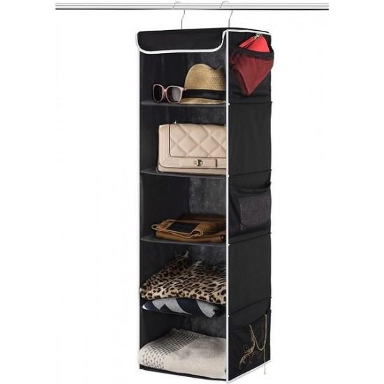 5 Layers Black Foldable Hanging Shelf Closet Organizer