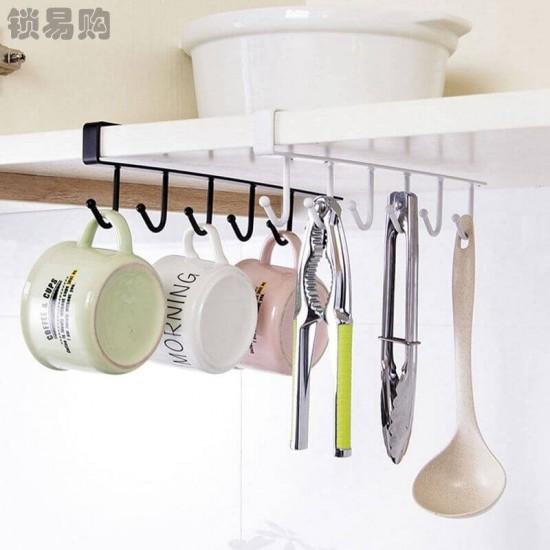 6 Hooks Cup Holder Cabinet Shelf Kitchen Storage Rack