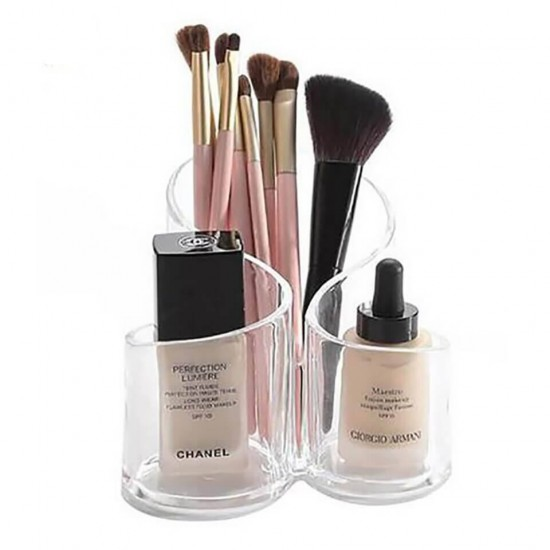 Acrylic 3 Compartment Cosmetic Brush Holder