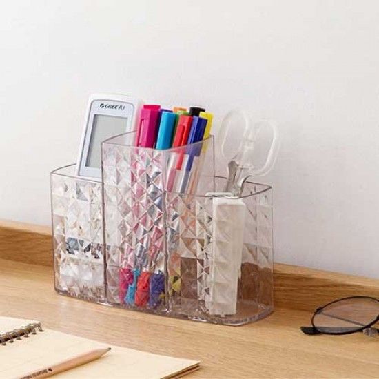 Acrylic 3 Compartment Makeup Accessories Organizer