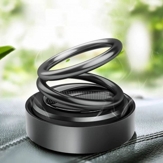 Car Air Freshener Solar Automatic Rotating Double Ring Suspension