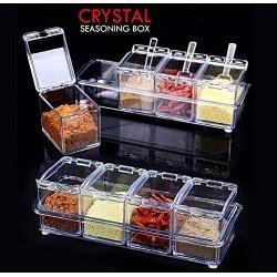 Crystal Seasoning Rack Spice Pots 4 Pieces