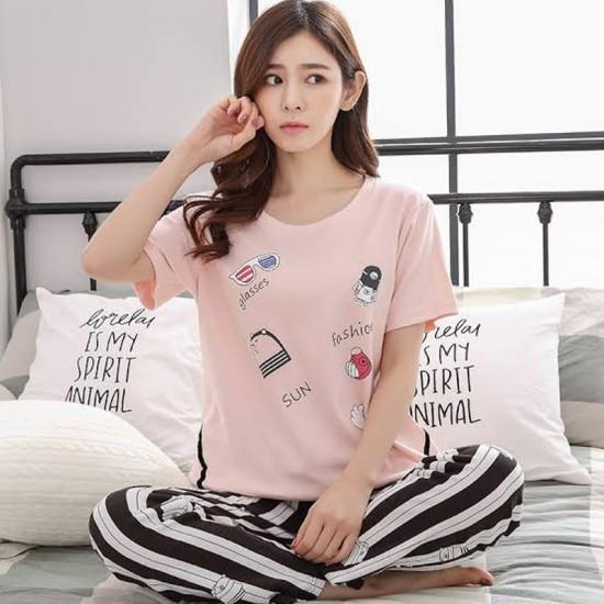 Ladies Printed Pink Nightwear