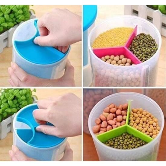 Plastic Food Storage Airtight Triple Partition Jar Large Size