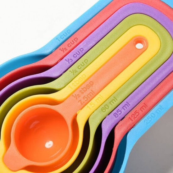 Plastic Measuring Cup Spoon 6 Pcs Set