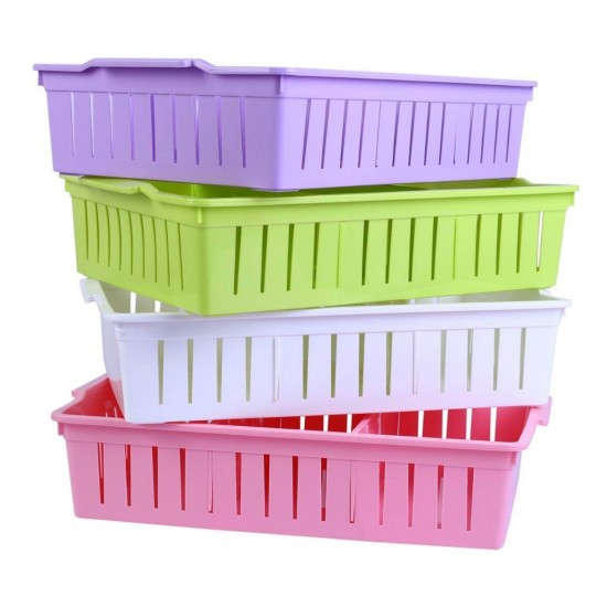 Plastic Storage Baskets Stackable Organizer With Partitions