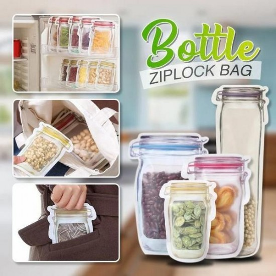 Reusable Bottle Shape Zip lock Bag Pack of 3