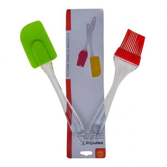Silicone Spatula And Brush Set with Plastic Handle Set of 2 Small