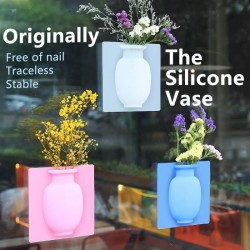 Silicone Sticky Magic Vase Stick on The Wall Flower Pot