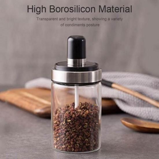 Spice Glass Storage Jar With Spoon